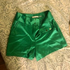 Alice and olive green stain silky shorts